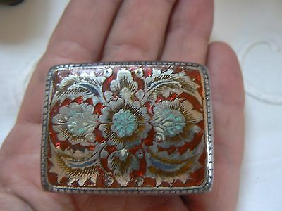 Pretty Antique 19Th C.  Engraved Silver Plate & Enameled Snuff Patch Box  French