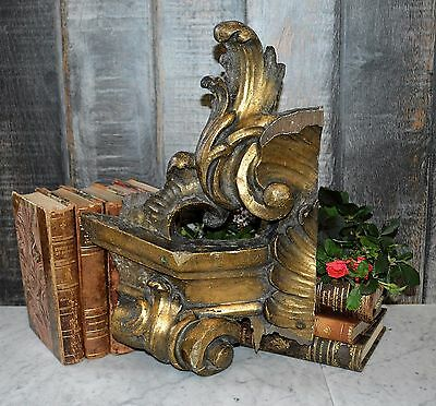 Antique French Large Carved Wood Fragment Pediment Gilded Acanthus Scrolls