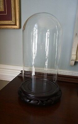"Vintage 9"" x 5"" Glass Dome Display w/ Ornate Oriental Footed Wood Base"