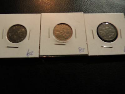 1927 1928 1929 Canada .05 Five Cents Nickel George V - 3 Lot Of Coins