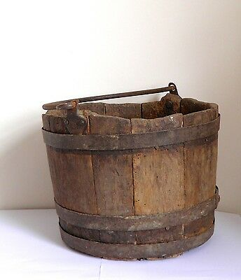 Primitive Antique Well Bucket Oak Wood Iron Straps and Handle Ideal Planter