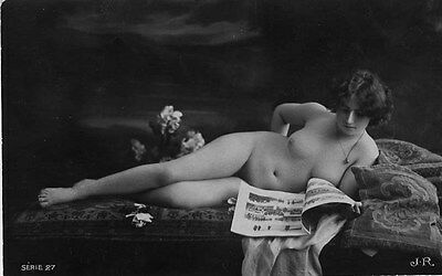 French NUDE real photo postcard circa 1920 JR SERIE27