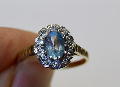 Vintage 9 Ct Gold Blue Topaz And Diamond Ring N
