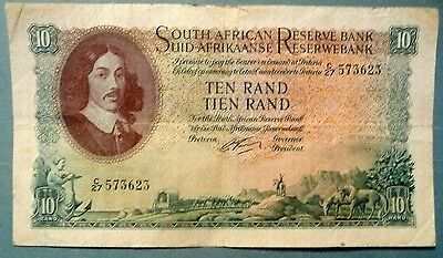 SOUTH AFRICA 10 RAND NOTE , P 106 b  , 1962-65 ISSUE, SIGNATURE 4
