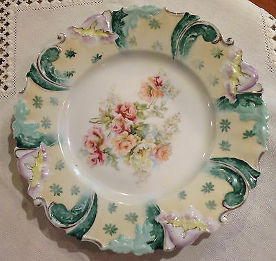 """RS Prussia 9"""" Plate - Forest Green/Buff/Lavender edge designs."""