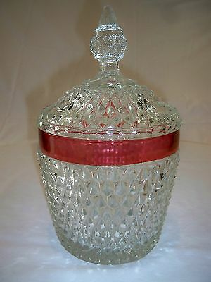 Vintage Cranberry Diamond Cut Glass Biscuit Jar