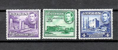 Cyprus MNH 1951 set of 3 stamps - Salamis, Kyrenia Harbour, Kolossi Castle