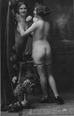 French NUDE real photo postcard circa 1920 BIEDERER Flesh coloured 166