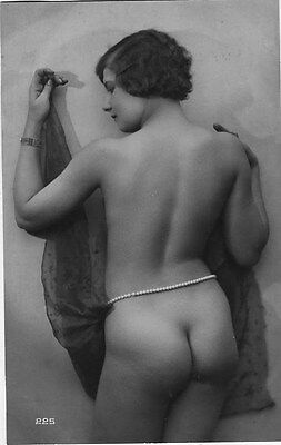 French NUDE real photo postcard circa 1920 BIEDERER Flesh coloured 225