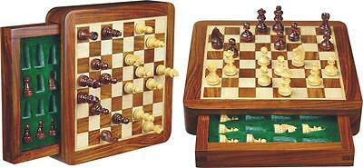 """7""""x 7"""" Flat wooden magnetic chess board game set w/drawer Handcrafted"""