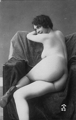 French NUDE real photo postcard circa 1920 BIEDERER 23
