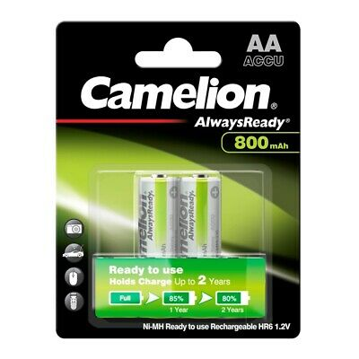 2x NiMH-Akku 1,2V 800 mAh Mignon AA HR6 Ready to Use Always Ready R2U Camelion