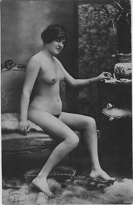 French NUDE real photo postcard circa 1920 JDER323