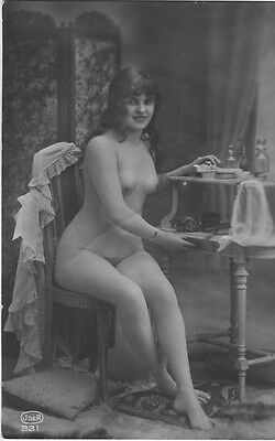 French NUDE real photo postcard circa 1920 JDER331
