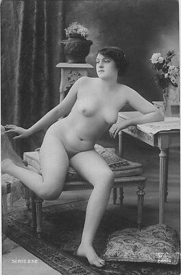 French NUDE real photo postcard circa 1920 VC232