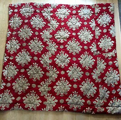Antique Late 1800s - Early 1900s French Art Nouveau Quilt Vintage Patched Fabric