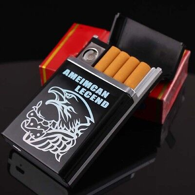 USB lighter 8 Cigarette case Windproof Rechargeable Heat wire  Fameless