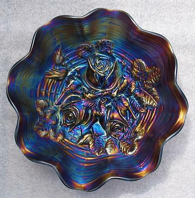 "Northwood   ""rose Show""   Amethyst Carnival Glass Eight Ruffle Bowl"