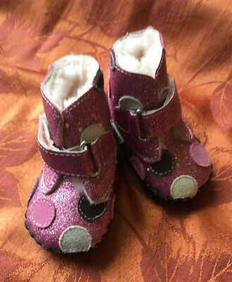 Girl's Winter PEDIPED Sparkly Pink Leather and Faux Fur Boots Shoes Size 0-6 Mo