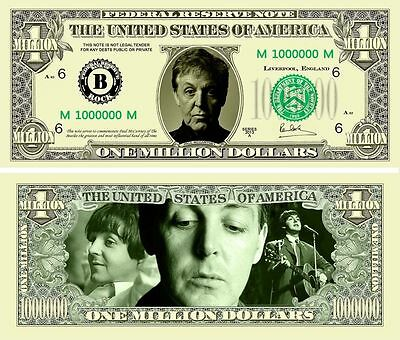 Paul McCartney Classic-Style Million Dollar Collectible Funny Money Novelty Note