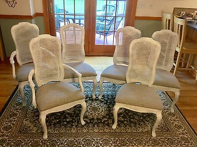 French Provincial Dining Chairs Set of 6 ~ White Cane Back