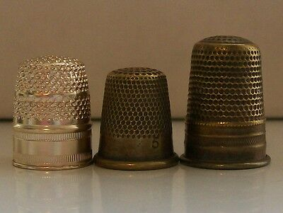 2 Nice Vintage Collectable Brass Thimbles and 1 Other