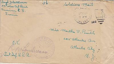 World War I Wwi Military Soldier Mail Cover W/censor Stamp France #10