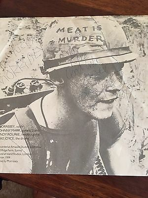 Smiths Meat is Murder Signed inner sleeve Morrissey and Johnny Marr