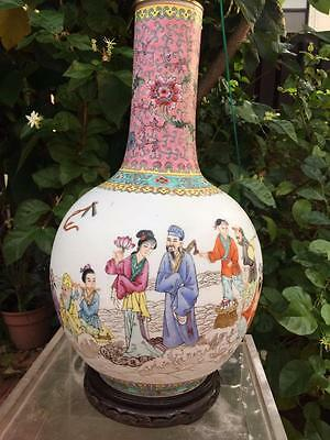 Rare Fine Chinese Qing Dynasty Famille Rose Porcelain Vase Lamp