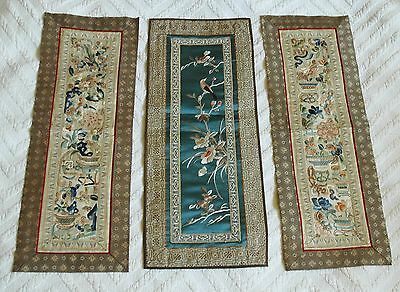 3 Antique Asian Fabric Panels Wall Hanging Table Runner VTG Embroidery Kimono