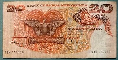 Papua New Guinea 20 Kina Note From First Issue  In 1975, P 4 , Signature 1