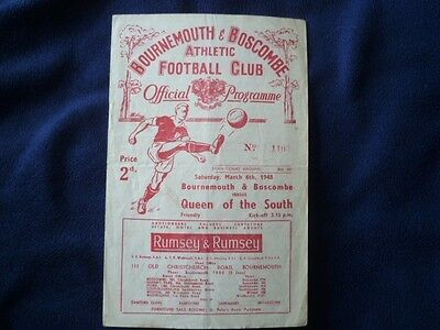 Bournemouth v Queen of the South March 1948 Friendly