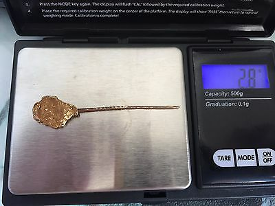 natural placer gold nugget on antique 14k gold pin 1/2x3/4 inch nugget 2.8grams