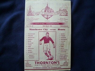 Hearts v Manchester City March 1951 friendly