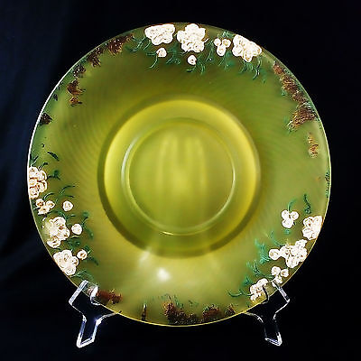 """Vintage Frosted or Satin Yellow Uranium Vaseline Glass 9 3/4"""" Plate Hand Painted"""
