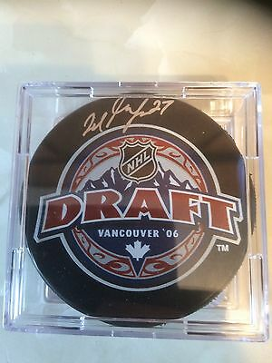 Milan Lucic Autographed With Coa Draft Puck
