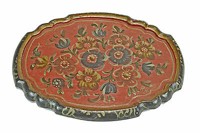 Vintage Carved and Painted Small Serving Tray, Hindeloopen, R.H.,Frisian, Dutch.