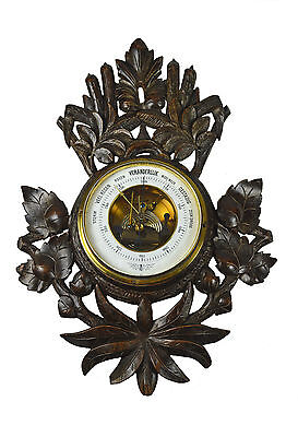 Antique Leaf Carved Black Forest Style Barometer, Dutch.