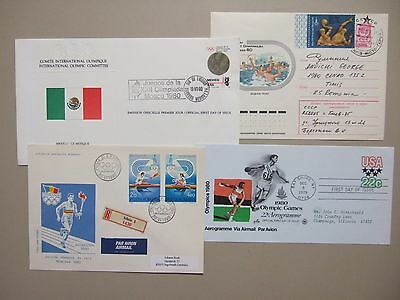 Four OLYMPIC GAMES Moscow covers:registered,aerogramme,postal stationery