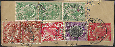 South Africa 1913 KGV Stamps on Paper Yeoville Cancellation Used