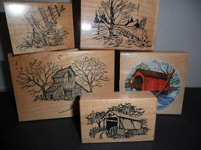 5 Scrapbooking Stamps, Country Scenes