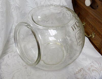 "Antique General Store Counter Glass Jar~Iten Biscuits~1906-1928~9"" X 10.5"""