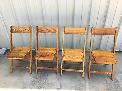 SET of 4 Antique SNYDER Solid OAK Wood Folding Chairs Vintage NICE PATINA
