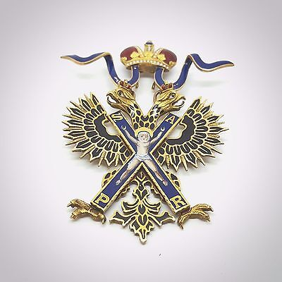 Vintage Russian Gold Enamel Sash badge of the order of Saint Andrew