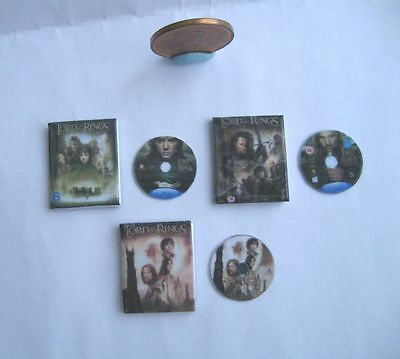3 x DOLLHOUSE MINIATURE DVD DVDS DVD'S SET LORD OF THE RINGS 1:12 SCALE