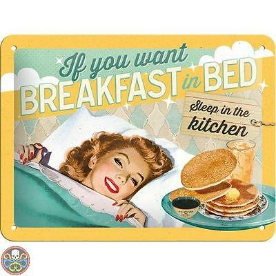 Nostalgic-Art Multicoloured Targa Di Metallo 15 X 20 Cm Breakfast In Bed Nuovo