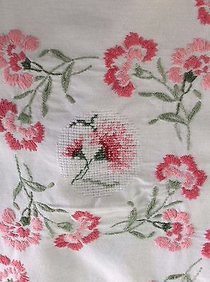 "EXCEPTIONAL Vtg Hand Embroidered Tablecloth HEAVILY WORKED Carnations 66"" x 53"""