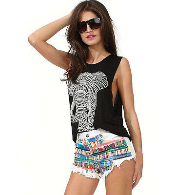 Summer Women Elephant Print Sleeveless O-neck Loose Casual Tank Top Vest