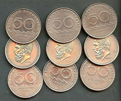 Greece Nice Lot Of 9 Coins 1980-82-84 50 Drachma ''solon''