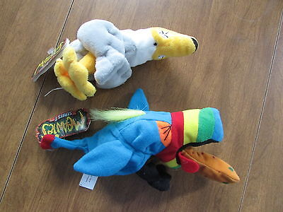 Zz1705 Meanies Plush Series 1 Lot Of 2 Pukin Toucan And Peter Gotta Peagull